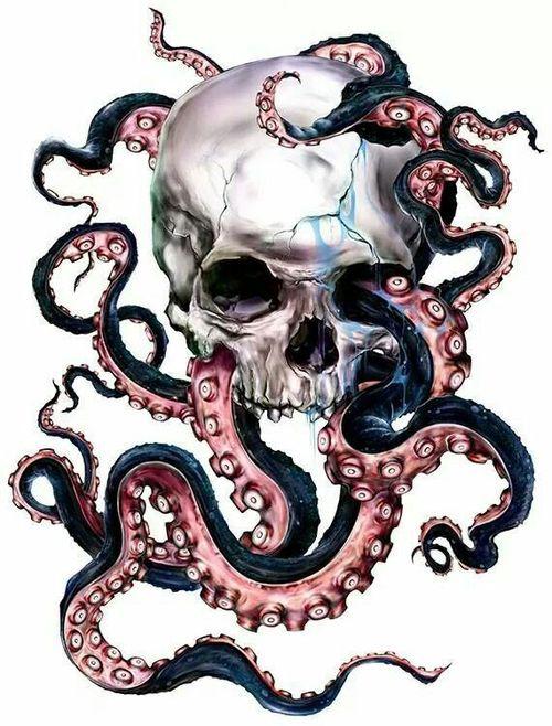 Skull octopus art pastel dark grunge