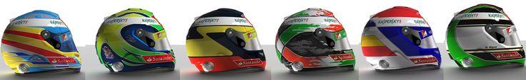 F1 2013 Official, Reserve and Test  Scuderia Ferrari F1 Drivers Helmets