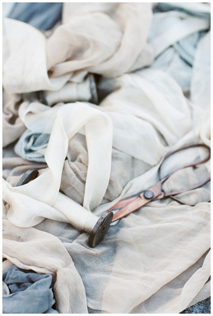 Hand dyed silk fabric and ribbon by Silk & Willow. Image by Sleepy Fox Photography.