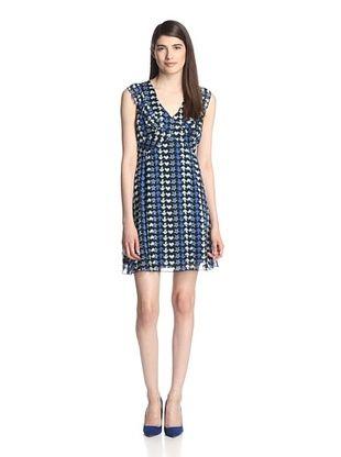75% OFF Anna Sui Women's Doves & Stars Print Georgette Dress (Sapphire Multi)