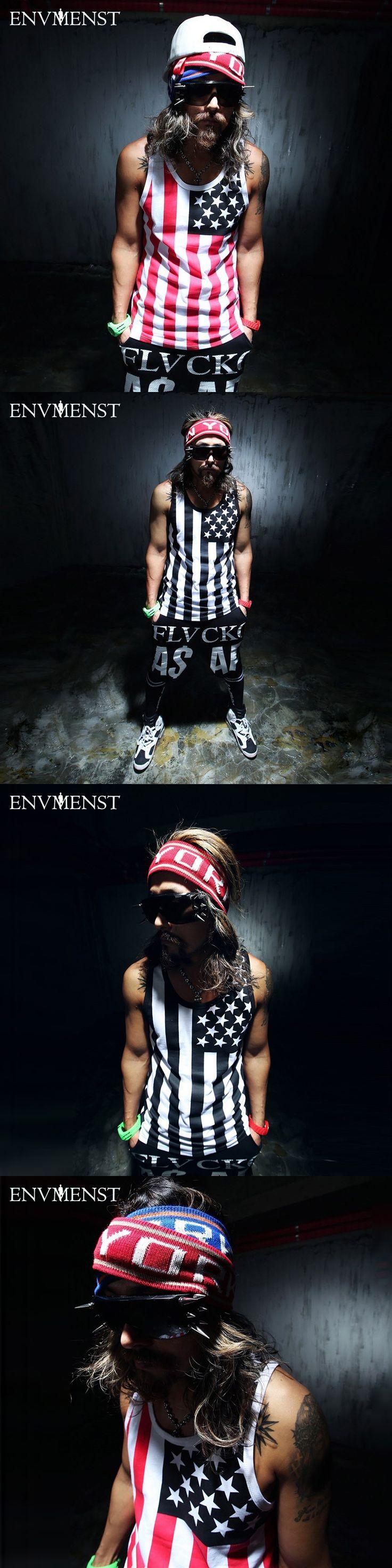 2017 Envmenst Newest Brand Shark Men Cotton Tank Tops Vest Men' Sleeveless Top Tees Star Stripped Printed  Street Wear Hip Hop