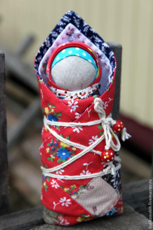 """Купить Игровая куколка-пеленашка """"Деточка"""" - ярко-красный, синий, Пеленашка, народная кукла"""