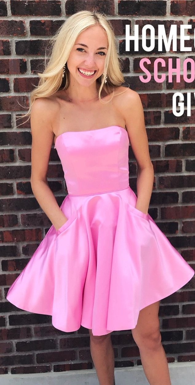 Short pink homecoming dress with pockets fitness pinterest