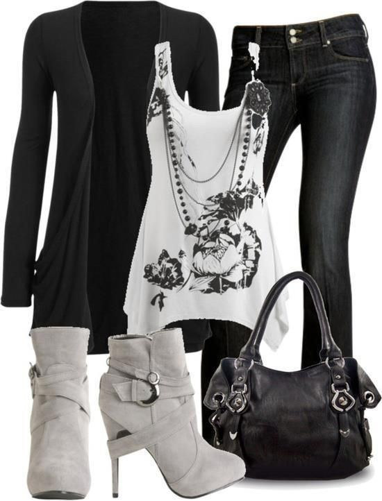 Black jean White Shirt High Heels Shoes And Black Handbag