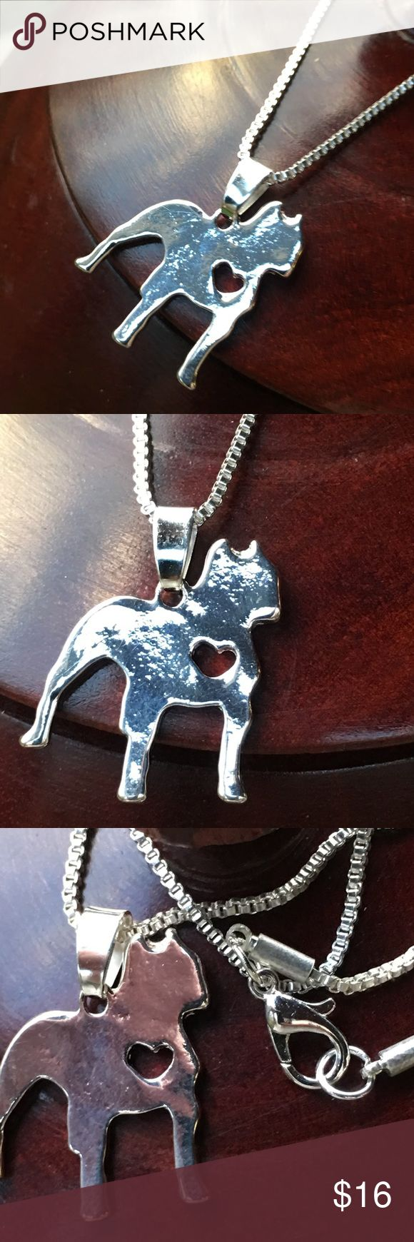 Bulldog/ boxer 💕love doggy necklace Adorable doggie necklace. Perfect gift for any dog lover. Boxer, love ❤️ necklace. This silhouette can represent many breeds including boxer, bulldog pit bull or your favorite mutt. Boutique items - prices are firm unless bundled. Jewelry Necklaces