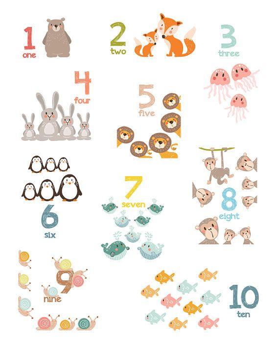 Animal number wall art Number animals 123 par Anietillustration