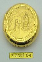 Gold Plated Oval Lourdes Apparition Rosary Box.