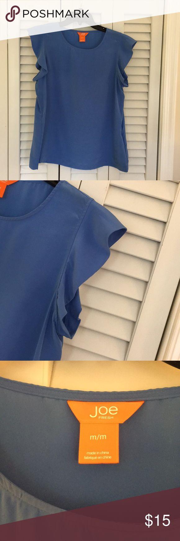 Joe Fresh periwinkle blue ruffle sleeve top Joe Fresh top; periwinkle blue; ruffle sleeve detail. Great basic that can be dressed up or down! Joe Fresh Tops Blouses