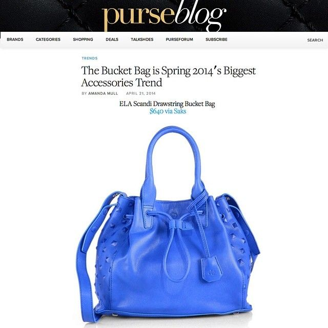 The Bucket Bag is Spring 2014's Biggest Accessories Trend @purseblog featuring the ela mini Scandi Drawstring in blue crush available @s5a