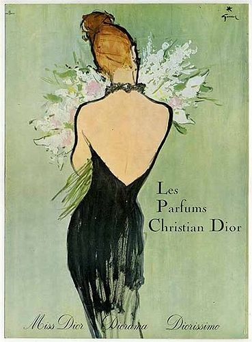 Vintage Christian Dior ad. This is the work of Italian fashion illustrator Rene Gruau (4 February 1909 - 31 March 2004.)
