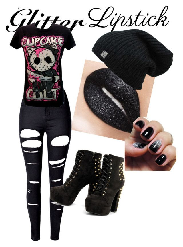 """""""Emo Glitter Lipstick"""" by chess4cats24 ❤ liked on Polyvore featuring beauty and WithChic"""