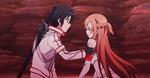 Sword art online - Kirito and Asuna gif -- She's just like 'OMFG HE'S KISSING ME…