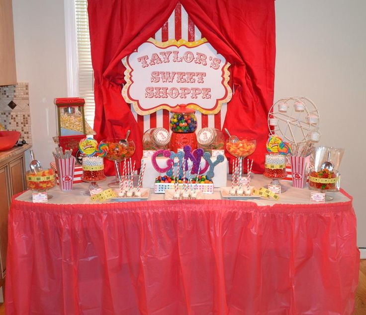 Birthday Party Buffet Table: Carnival 1st Birthday Candy Buffet Table