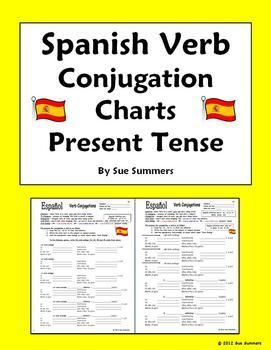 Spanish Verb Conjugation Charts By Sue Summers Present Tense Spanishlessons