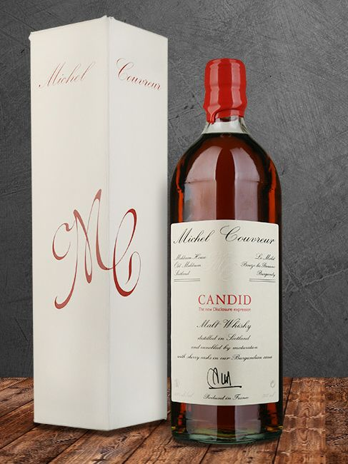 Michel Couvreur Candid. Malt distilled in 2006 and matured in Pedro Ximenez media botas (250 liters). Lightly peated with salty caramel notes. .