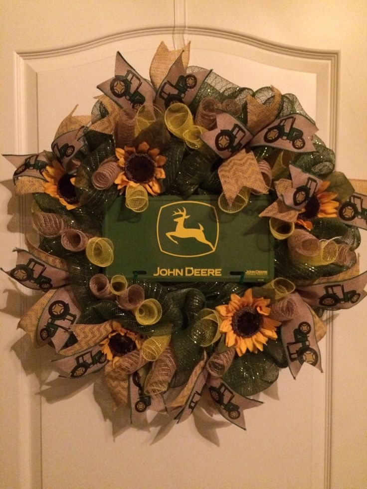 John Deere Country Wreath with Sunflowers and Tractor Ribbon