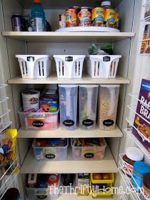 *The Thrifty Home: Deep Pantry Organization: turntable on top shelves, baskets with handles, those can storage racks for soda or other