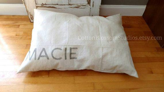 Farmhouse dog bed Grainsack Dog Bed https://www.etsy.com/listing/459920892/dog-bed-cover-grain-sack-dog-bed