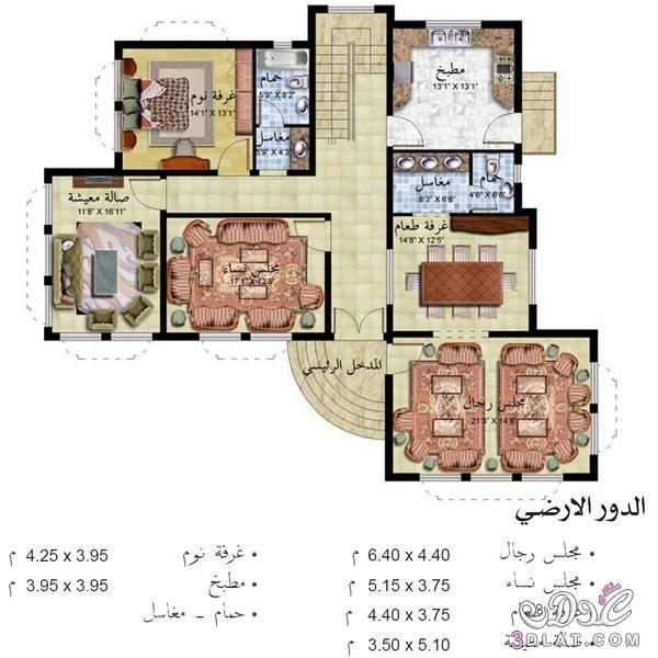 احدث تصاميم الخرائط الحديثة للمنازل صورة الواجهة الارضي والاول Courtyard House Plans 3d House Plans Architectural Design House Plans