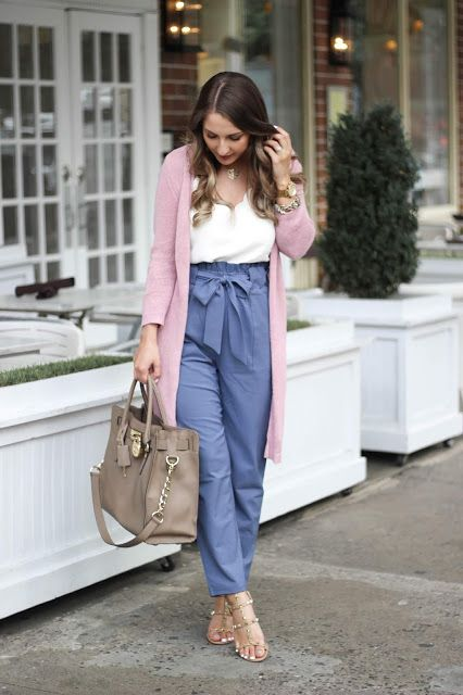 FASHIONABLE WORK OUTFIT || PAPER BAG PANTS + SCALLOP CAMI & PINK CARDIGAN | A Cl…