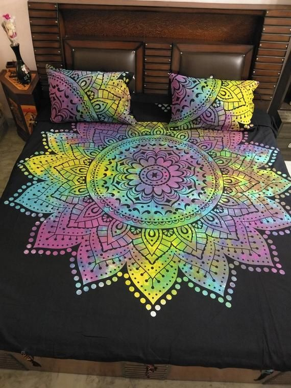 Indian King Size Doona Cover Tie Dye Duvet Cover Bedspread Bohemian Throw Set