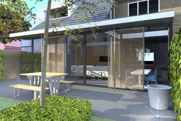 moderne uitbouw jaren 30 woning - Mooi de zwarte kozijnen Mooi het gebruik van de houten panelen. Deze kunnen volgens mij verschuiven