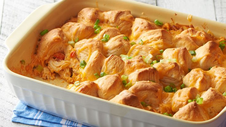 This craveable Buffalo chicken casserole doubles as a game day app or an easy weeknight dinner.