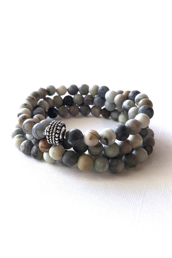 Picasso Jasper Bead Necklace or Wrap Bracelet, 108 Bead Mala, Hand Made Women's / Men's Jewelry, Sterling Silver Gray Brown White Mala Beads