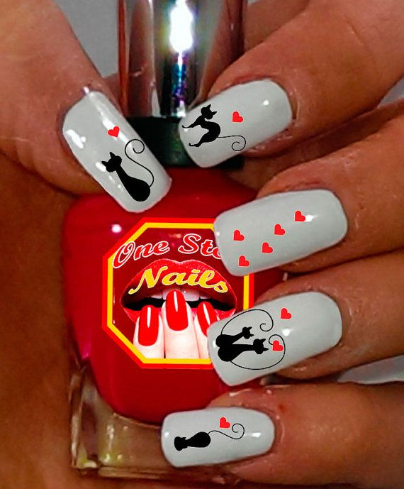 For Valentine's Day Valentine Cats Nail Art Decals by OneStopNails