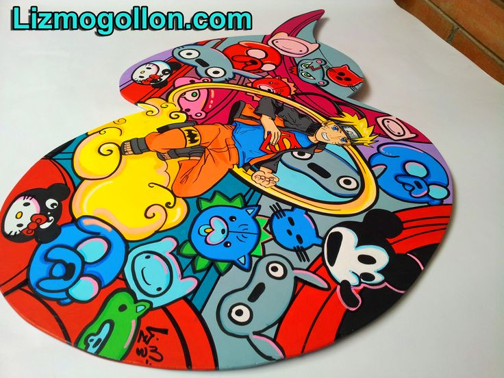 "Versión balloon speech / Globo de Narración. Pintura: ""Opps Crossover"" Manga pop art Acrylic/canvas  Fan art Aithor: Liz Mogollon http://www.lizmogollon.com/ #naruto #adventure time"