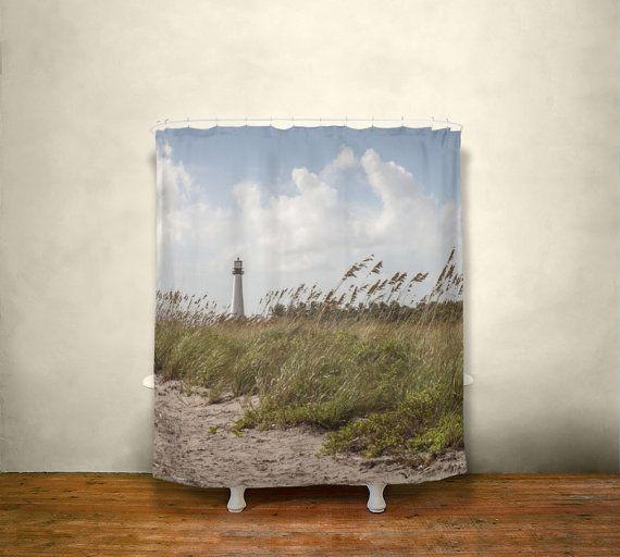 Beach Shower Curtain, Nautical Decor, Lighthouse Bathroom Decor, Florida Shower Curtain, Nautical Bathroom, Ocean Themed Bathroom