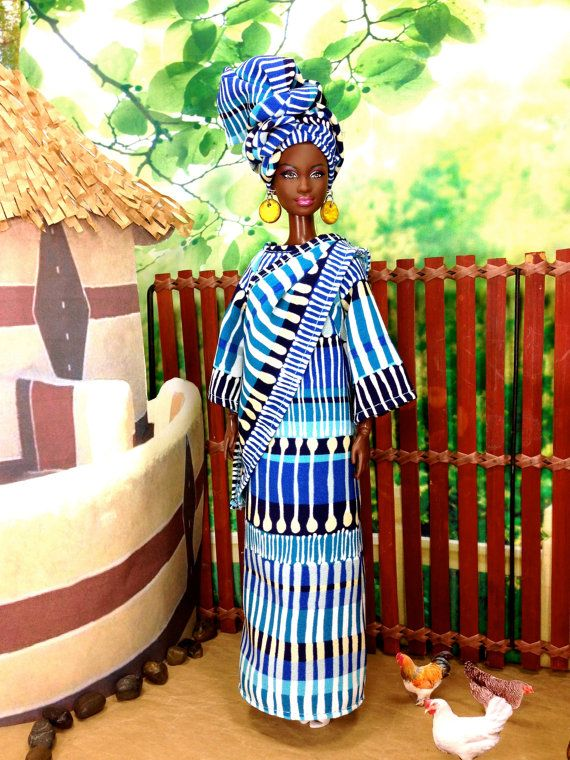 Barbie Doll African Inspired Print Dress  by EnchantedStyles
