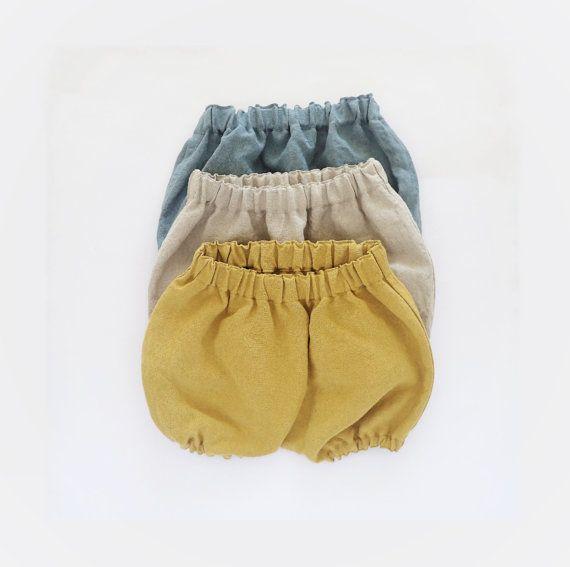 Kids Gift, Set of 3, Linen Bloomers Set, Baby Gift Idea, You Choose 3 Colors, Vintage Washed Linen