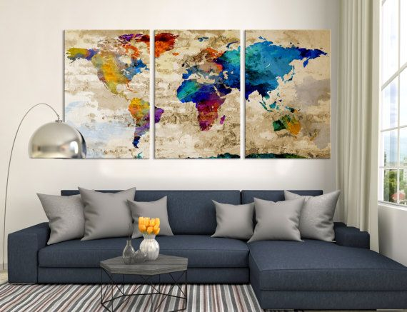 10 best watercolor world map canvas images on pinterest world world map push pin canvas print triptych by worldmapprint on etsy gumiabroncs Choice Image