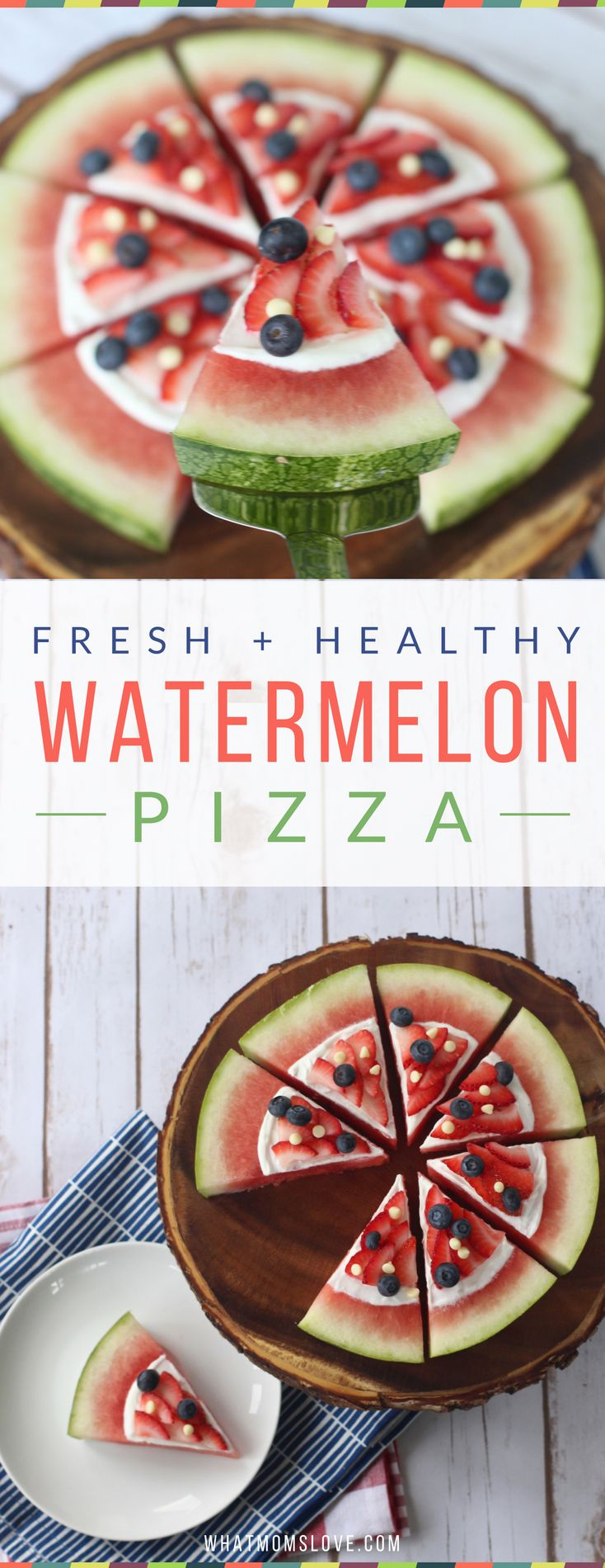 Watermelon Fruit Pizza - an easy and healthy snack that's a big hit at parties and a fun treat for kids! Visit whatmomslove.com for the full recipe. Note to self! #healthy @100 Days to Wellness I love this.