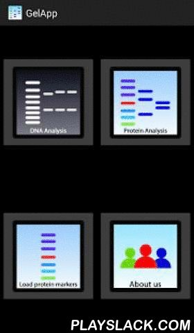 Gelapp: DNA&Prot Gel Analyzer  Android App - playslack.com ,  This is the first android app that allows you to analyze gel (both agarose and PAGE) bands with a log graph automatically generated from the markers. It allows automatic detection and loading for future uses. Utilizing Gabor filter, this app allows users to improve detection of bands automatically. For poor quality images, users can click can manually draw a box on the desired band or click on the image to determine the specified…