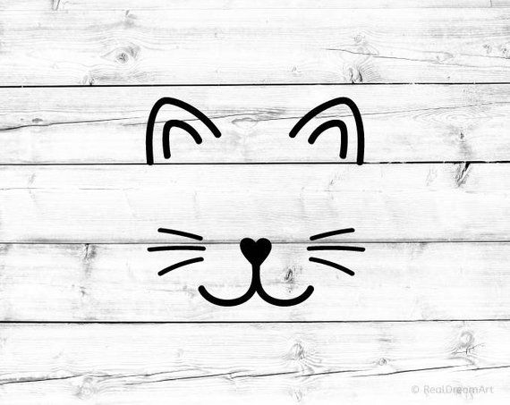 Cute Cat Mom Cat Face File Svg Ai Dxf Eps Png Digital Etsy Cat Face Drawing Cat Outline Cat Face