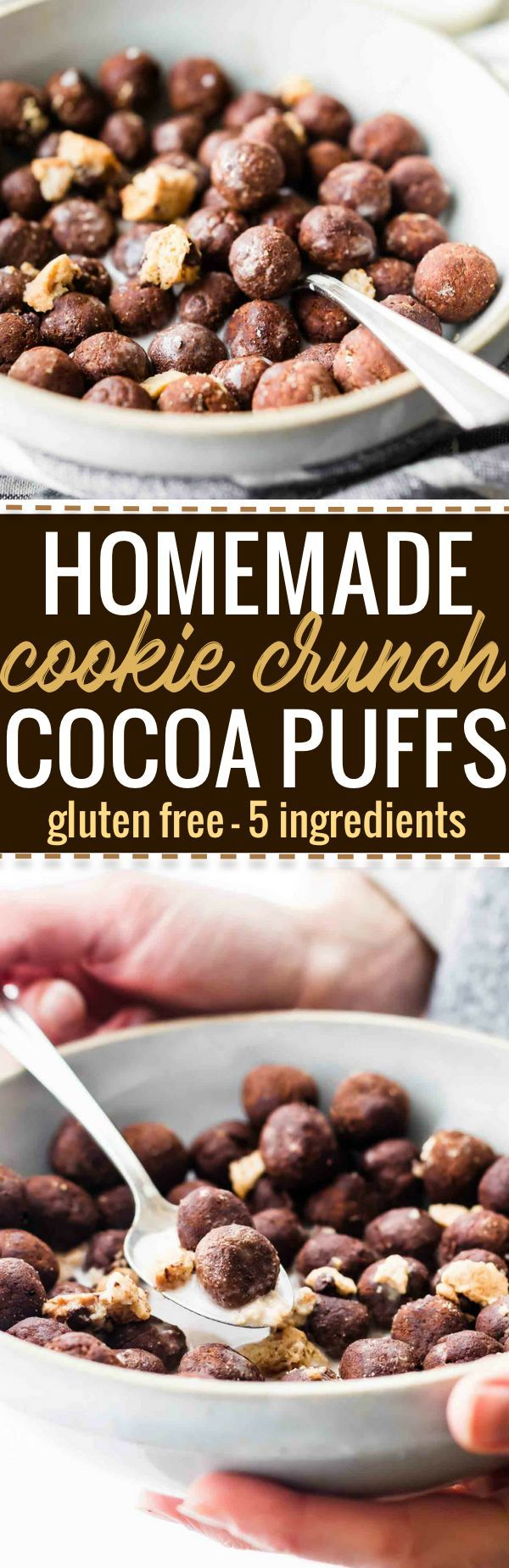 Cookie Crunch Cocoa Puffs Homemade Cereal made with just 5 Ingredients! Gluten Free homemade cereal made right in your kitchen. Healthier, real food based, and so tasty! This Cocoa Puffs cereal tastes just like the real deal but better for you and budget