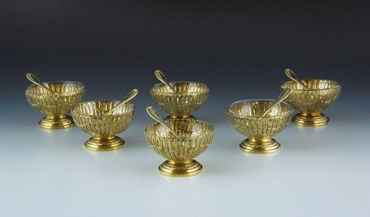 Set of six salt cellars with matching spoons and original case, Heilbronn, c.1900