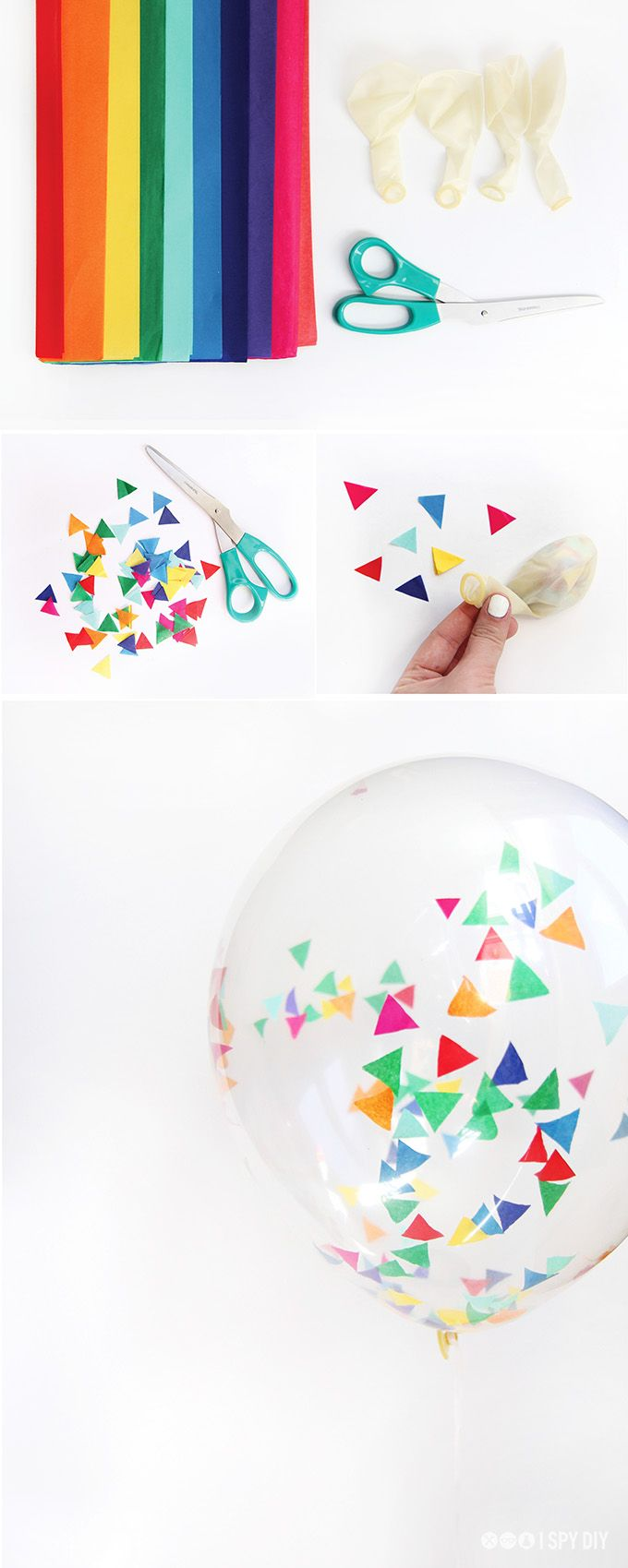 DIY confetti balloons for your next party. Customize colors with your cakes and cupcakes for maximum va va voom!