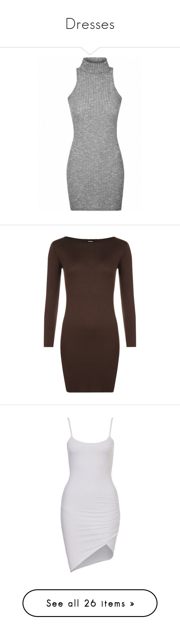 """""""Dresses"""" by xx-un-dimpled-xx ❤ liked on Polyvore featuring dresses, grey, vestidos, gray dress, grey turtleneck, sleeveless turtleneck dresses, turtleneck dress, sleeveless turtleneck tops, dark brown and long sleeve body con dress"""