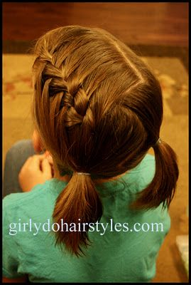 Doing more with short hair do styles. This is a waterfall braid pulled back into pigtails. So cute.