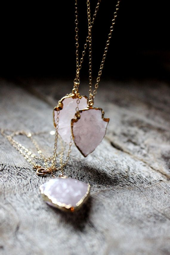 Beautiful, delicate and well priced! Rose Quart Arrowhead Edged in 24K Gold by WildPeopleFreeSpirit:
