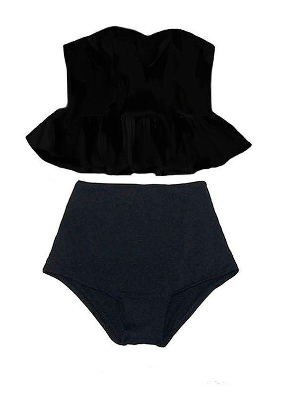 Black Long Peplum Top and High waisted waist Shorts Bottom Swimsuit Swimwear Bathing suit dress Swimsuite Swimsuites Bikini 2pc set S M