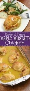 Sweet & Tangy Maple Mustard Chicken- A super easy and quick weeknight meal, that packs a ton of sweet and tangy flavor with sweet maple syrup and tangy mustard. Super quick prep time makes this a weeknight dinner winner, perfect for the whole family. This is one of our go-to dinners. So simple to make but so delicious!