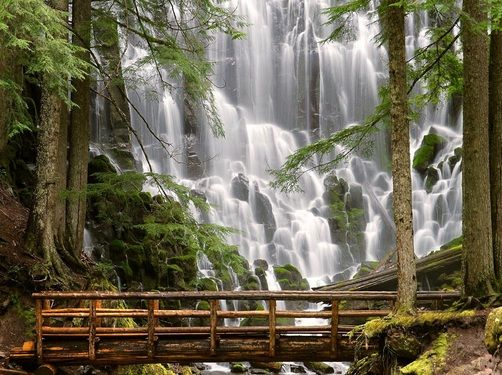 Ramona Falls located in Clackamas County, Oregon. On the west side of Mount Hood.