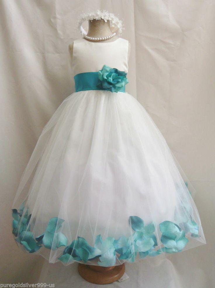 Ivory Teal Green Red Pink Brown Rose Petal Pageant Wedding Flower Dress