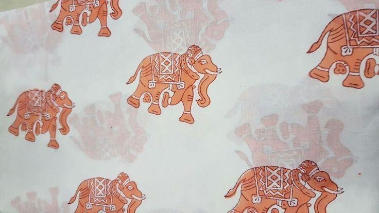 Indian Hand Block Printed Natural Handmade Cotton Sanganeri Animal Print Fabric