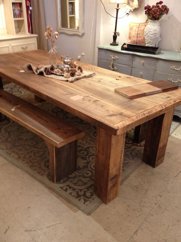 14 Best Barn Wood Dining Room Tables And Chairs Images On Alluring Plank Dining Room Table 2018