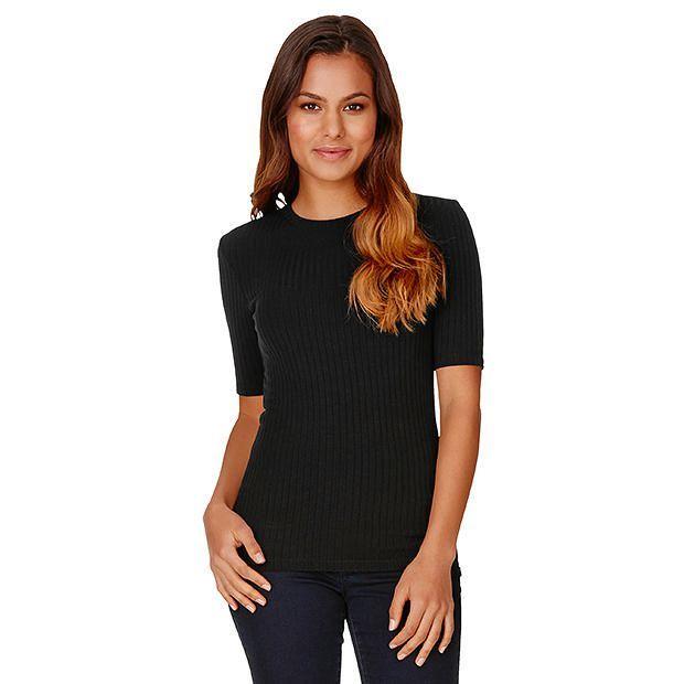 Dannii Minogue Petites Ribbed T-Shirt - Black | Target Australia